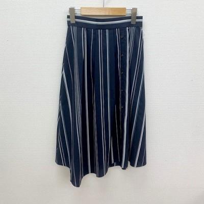 UNTITLED アンタイトル スカート 衣料 アシンメトリー ストライプ オフィス レディース  ネイビー N14753-1●【中古】
