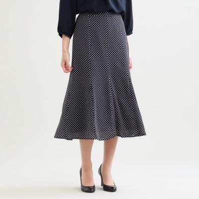 トランスワーク TRANS WORK 【ウォッシャブル】シフトドットプリント裾フレアースカート (ネイビー)