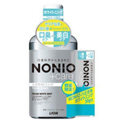 ライオン限定 NONIO(ノニオ) +Care ホワイトニングリンス フレッシュホワイトミント 600ml + ハミガキ 30g ライオン
