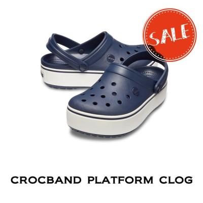 【クロックス crocs レディース】crocband platform  clog/クロックバンド プラットフォーム クロッグ/ネイビーxホワイト