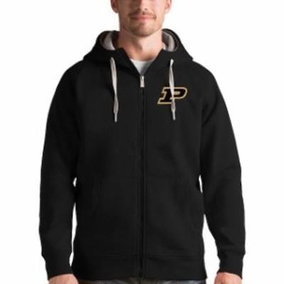 Antigua アンティグア スポーツ用品  Antigua Purdue Boilermakers Black Victory Full-Zip Hoodie