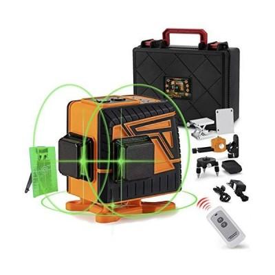 OMMO 3x360° レーザー墨出し器 12ライン グリーン レーザー 大矩 フルライン 高輝度 高精度 IP54防塵防水 自動水平補正モ