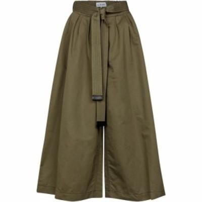 ロエベ Loewe レディース ボトムス・パンツ キュロット Belted cotton and linen culottes Khaki Green