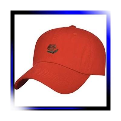 02:レッド 帽子 キャップ バラ 薔薇 ローズ 無地 カジュアル オ