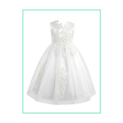 MSemis Flower Girl Lace Dress Heart Back Wedding Party Formal Kommunions Dresses Ball Gown Ivory Lace 14並行輸入品