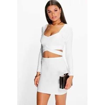 Boohoo レディーススカート Boohoo Wrap Top & Mini Skirt Co-Ord Set ivory