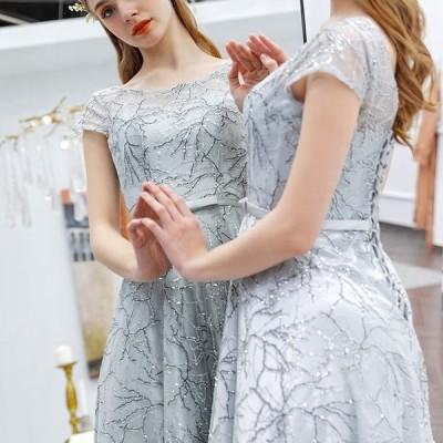 【ANGEL】肌透けラメチュールリボン半袖付き背中編上げAラインロングドレス【送料無料】高品質 グレー 灰色 シルバー 銀色 ロングドレス