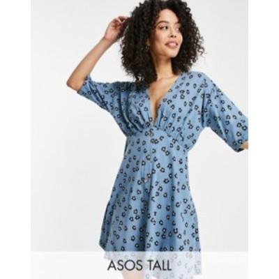 エイソス レディース ワンピース トップス ASOS DESIGN Tall tea dress with horn buttons in blue based floral Blue floral