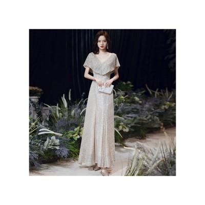 パーティードレス ロング ドレス フォーマル イブニングドレス ウェディング 演奏会 結婚式 ドレス 袖あり きれいめ 華やか ケープ風 二の腕カバー シンプル 大