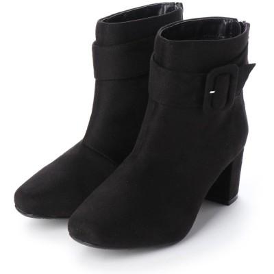 マシュガール masyugirl 【4E/幅広ゆったり・大きいサイズの靴】 ベルト使いミドルヒールブーツ】 (ブラックスエード) SOROTTO