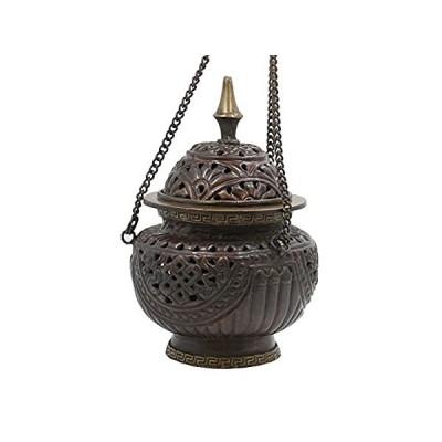 チベット従来DharmaObjects Hanging香炉銅 6 x 4.5 x 4.5 Inches ブラウン