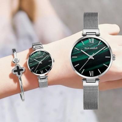 選べる2色 DOM レディース腕時計 クォーツ シンプル ミニマル エレガント ファッション メッシュスチールバンド