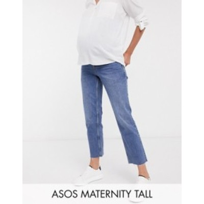 エイソス レディース デニムパンツ ボトムス ASOS DESIGN Maternity high rise stretch 'effortless' crop kick flare jeans in mid vint