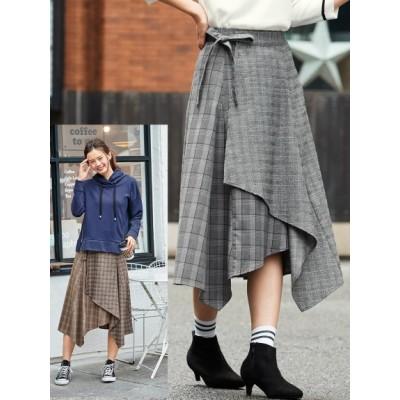 【大きいサイズ】チェック柄異素材使いイレギュラーヘムスカート 大きいサイズ スカート レディース