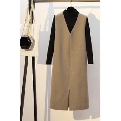 セットアップ 秋冬 Vネックワンピ 黒ニット トップス 2点セット 大人 カジュアル 大きめサイズ  ファッション きれいめ K0558