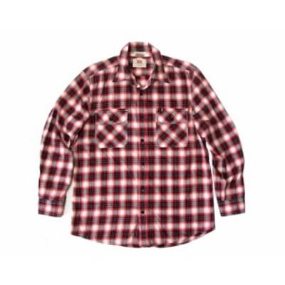 美品 EDWIN エドウイン タータンチェックネルシャツ (赤 長袖) 099547【中古】