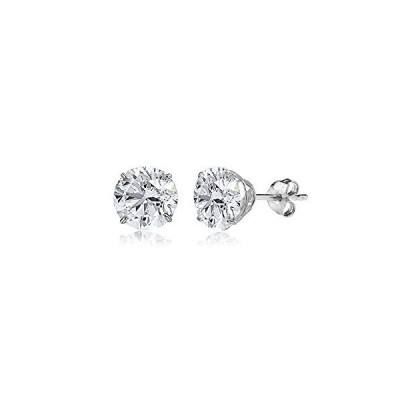 14K White Gold 6mm Round-Cut Solitaire Stud Earrings