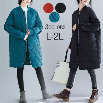 キルティングコートキルティングジャケット中綿コートアウターカーディガンレディースロングコートミディアムカジュアル軽い暖かいゆったり