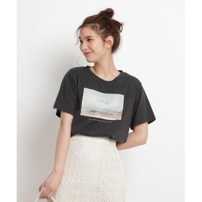 【S-LL】転写プリントサイドスリットTシャツ