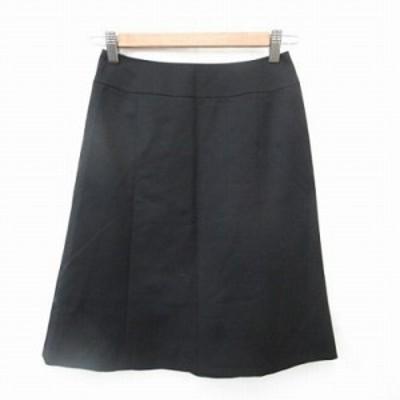 【中古】未使用品 ナチュラルビューティーベーシック スカート フレアースカート ひざ丈 切替 黒 XS レディース