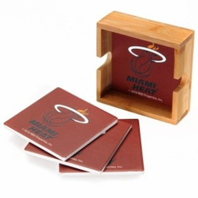 The Memory Company ザ メモリー カンパニー スポーツ用品  Miami Heat 4-Pack Square Coaster Set with Caddy