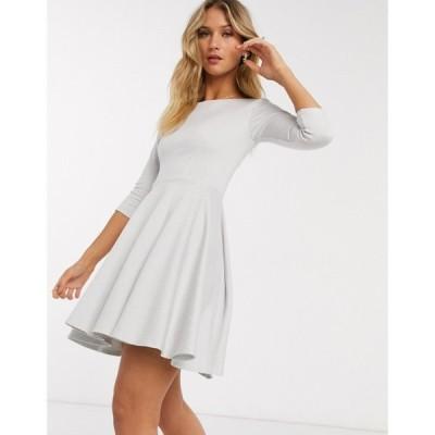 クローゼットロンドン Closet London レディース ワンピース 七分袖 スケータードレス ミニ丈 mini skater dress with 3/4 sleeve in white stripe ホワイト