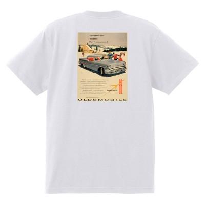 アドバタイジング オールズモビル 614 白 Tシャツ 黒地へ変更可  1957 ゴールデン ロケット 88 98 スーパー ホリデー ホットロッド ローライダー