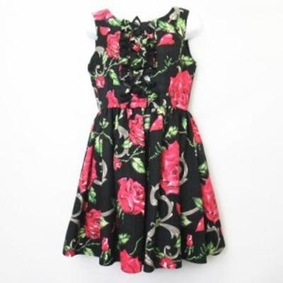 【中古】ミルク MILK  ロージーローズドレス ワンピース 総柄 10154116 黒 ブラック レディース