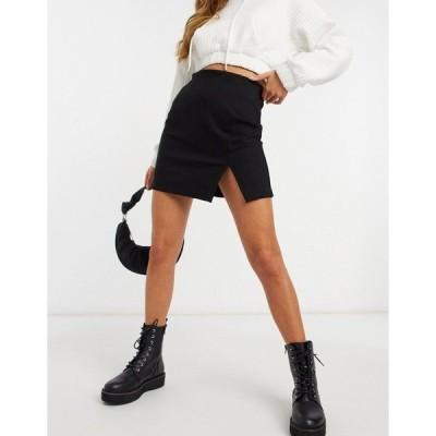 ストラディバリウス レディース スカート ボトムス Stradivarius slit detail mini skirt in black Black
