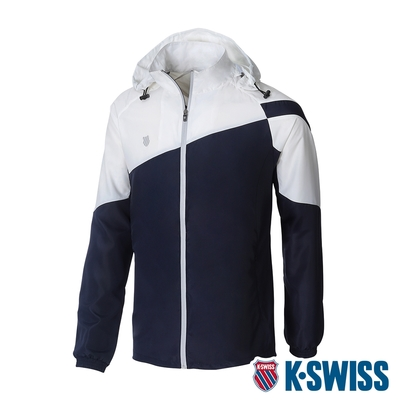 K-SWISS Panel Color Jacket 輕量防風外套-男-藍/白