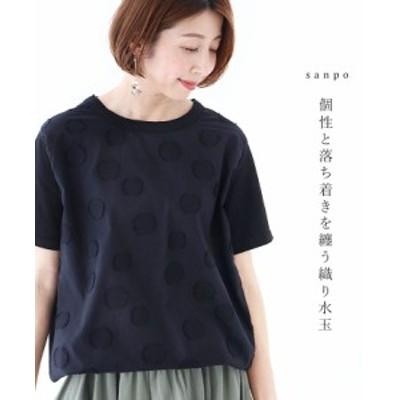 送料無料 個性と落ち着きを纏う織り水玉トップス Tシャツ cawaii sanpo レディース ファッション カジュアル ナチュラル プルオーバー