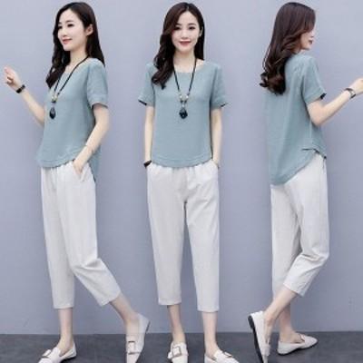 セットアップ レディース 夏 カジュアル 40代 30代 韓国風 上下セット Tシャツ 半袖 綿麻 ガウチョパンツ きれいめ 大きいサイズ おしゃ