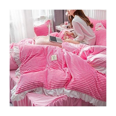 冬のパッド入りの暖かいプリンセススタイルの両面ベルベット布団カバーベッドスカート枕カバー-R_1.8mベッド4