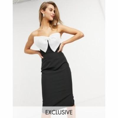 ルッソ Lusso the Label レディース ワンピース バンドゥ タキシード ミドル丈 exclusive bandeau midi dress with tuxedo bow in black
