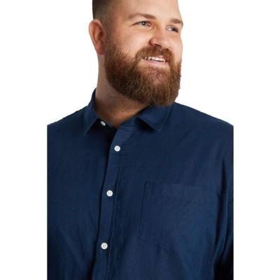 ジョニー ビッグ Johnny Bigg メンズ シャツ 大きいサイズ トップス Big & Tall Anders Linen Shirt Navy