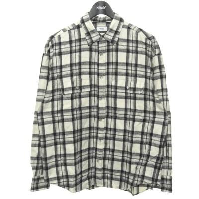 【1月25日値下】ALLEGE 「Flannel check shirt」フランネルチェックシャツ ホワイト サイズ:2 (渋谷店)