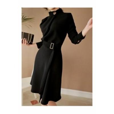 スタンドカラー 長袖 黒 ワンピース 巻きスカート風 お呼ばれ パーティ 20代 30代