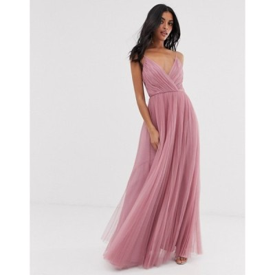 エイソス レディース ワンピース トップス ASOS DESIGN cami pleated tulle maxi dress in rose