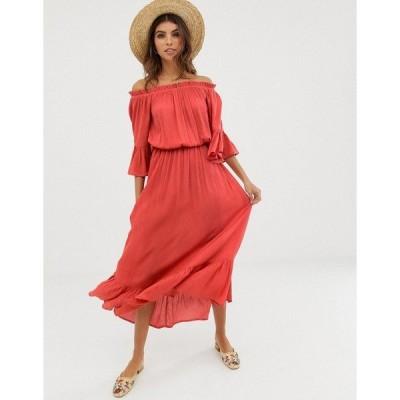エイソス レディース ワンピース トップス ASOS DESIGN off shoulder maxi dress in texture dobby Rust