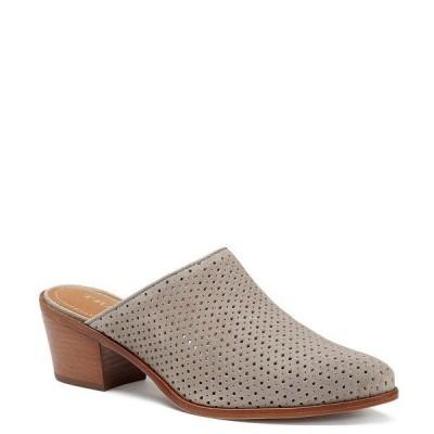 トラスク レディース サンダル シューズ Teresa Diamond Perforated Suede Block Heel Mules Light Gray Oiled Suede
