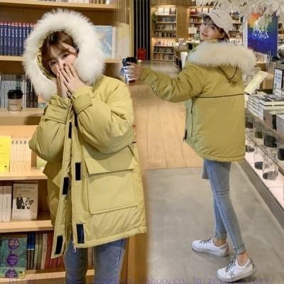 レディース30代40代長袖ダウン風ジャケット中綿コート中棉ジャケットファー付きフードミディアム丈可愛いゆったり防寒保温大きいサイズ秋冬