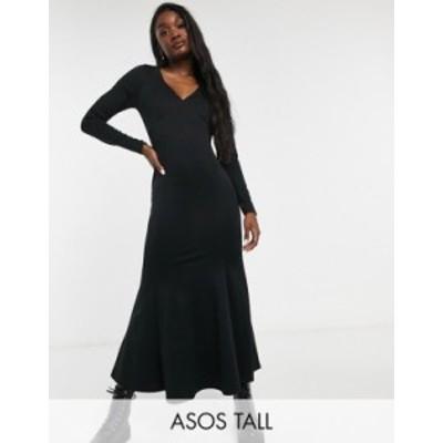 エイソス レディース ワンピース トップス ASOS DESIGN Tall midi body-conscious dress with fishtail and V-neck in ivory Black