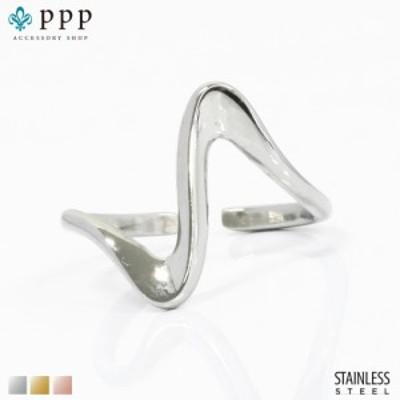 ステンレス リング(174)ウェーブ 銀色(メイン) 指輪 金属アレルギー対応 レディース メンズ 送料無料  サージカル 波