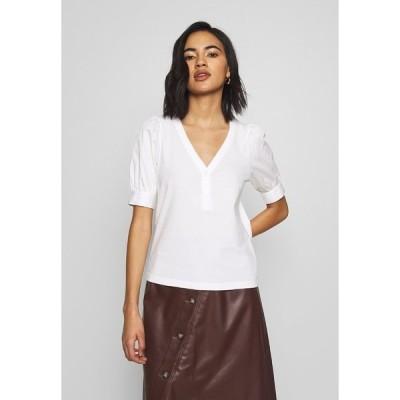 フー ワット ウェア Tシャツ レディース トップス PUFF SLEEVE - Print T-shirt - white
