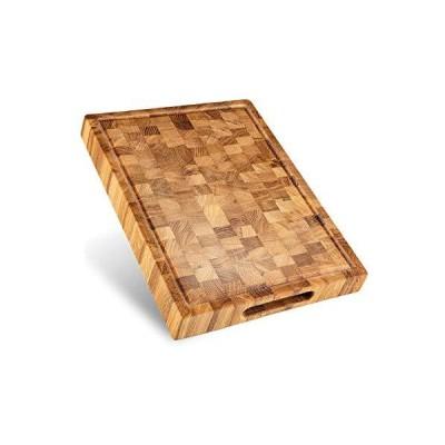 エンドグレイン木製カッティングボード ジューズグルーブ 大型リバーシブルまな板 カウンタートップ 大型カッティングボード 16x12インチ キッチンブ