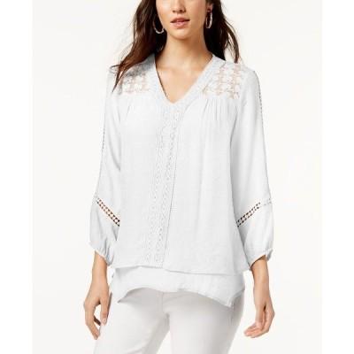 スタイルアンドコー カットソー トップス レディース Lace-Yoke Handkerchief-Hem Top Bright White