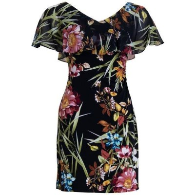 コネクテッド ワンピース トップス レディース Petite Cape-Sleeve Dress Black