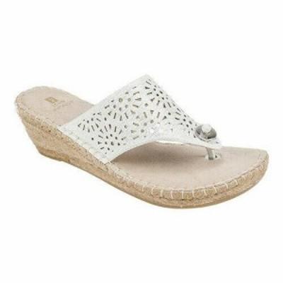 White Mountain ホワイトマウンテン ファッション サンダル White Mountain Womens  Bobbie Thong Sandal White Metallic Size 9 M