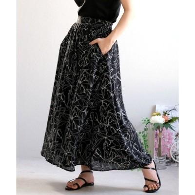 スカート 線画花柄フレアシフォンスカート