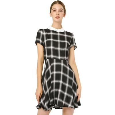 uxcell Allegra K フレアワンピース チェック ワンピース ドレス 半袖 襟付き 細身 可愛い レディース ブラック-ホワイト XS